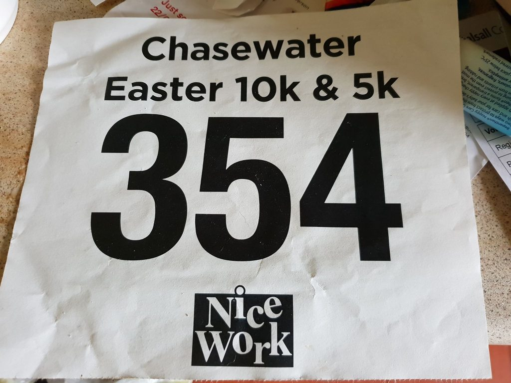 Chasewater Easter 10k 2019 Race Number